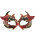 Venetian mask - red/gold w/horns