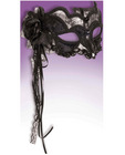Venetian mask - black/silver w/rose