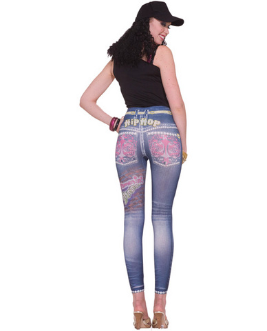 Hip hop graphic jean leggings - blue xs/s