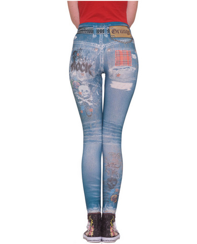 Grunge graphic jean leggings - blue m/l