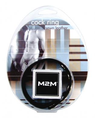 M2m leather cock ring 5 snap - black