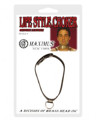 Maximus d-ring leather choker