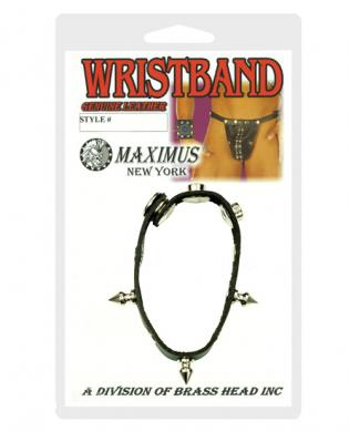 Maximus rivet and spike leather wristband