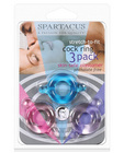 Elastomer cock ring set - blue purple and pink pack of 3