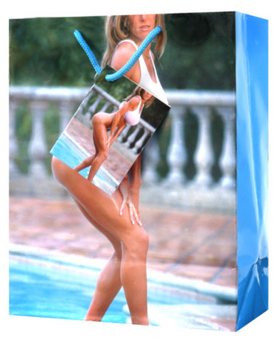 Sexy blonde by pool gift bag