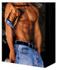 Male chest w/bluejeans gift bag