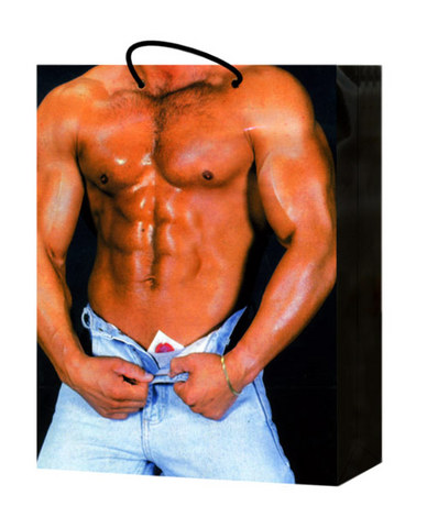 Man w/condom in unzipped bluejeans gift bag
