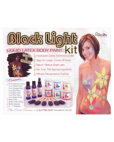 Black light liquid latex body paint kit