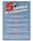 Tin sign, 5 levels of a hangover