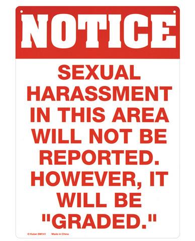 Sexual harrassment tin sign