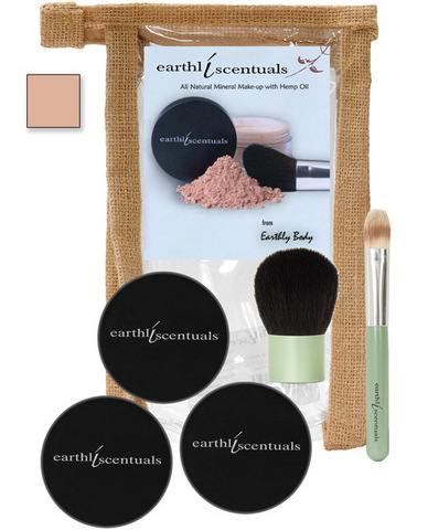 Earthly body mineral make-up - #2.3 medium beige foundation, concealer, sheer mineral and 2 brushes