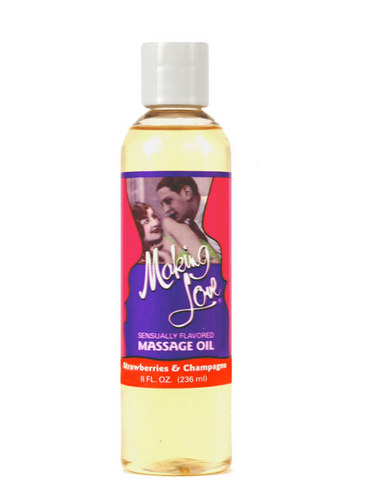 Making love strawberries and champagne massage oil