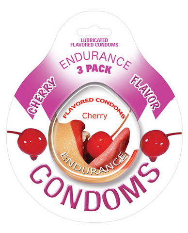 Endurance flavored condom cherry, 3 pac
