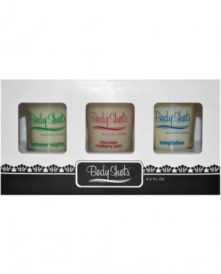 Body shots massage candles  - summer nights, chocolate raspberry and temptation box of 3