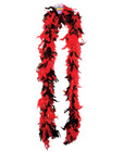 72in light weight feather boa - red and black w/gold tinse