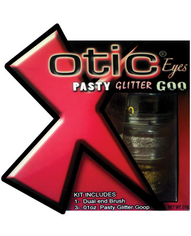 Xotic eyes - pasty glitter glue - black, gold and silver pack of 3