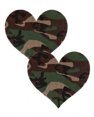 Playful pasties heart hunter green camo o/s