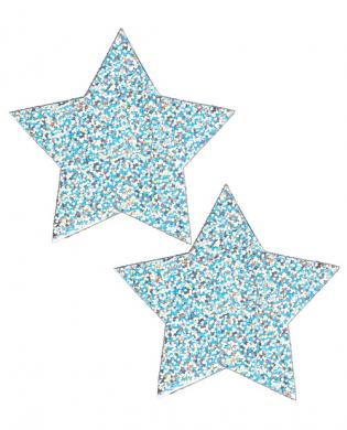Playful pasties star sparkly silver glitter o/s