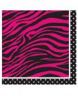 Birthday pink zebra beverage napkin - pack of 16