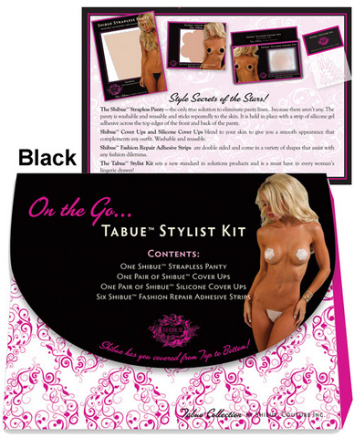 Shibue on the go, strapless panty, cover ups, silicone cover ups, repair adhesives black xs/s