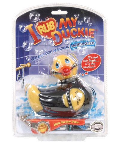 I rub my duckie massager - bondage