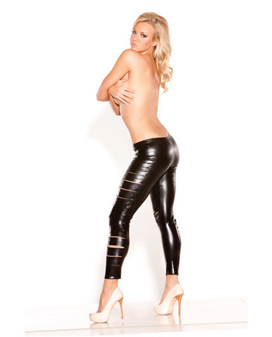Kitten wet look sexy siren leggings black o/s