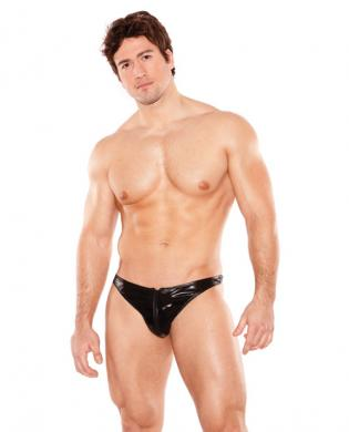 Zues wet look front zipper thong black o/s