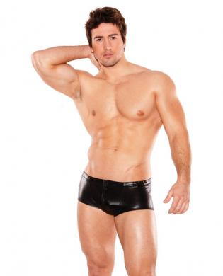 Zues wet look front zipper short black o/s Sex Toy Product