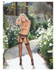 Sheer garter belt pantyhose black o/s