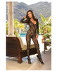 Long sleeve bow design open crotch bodystocking black o/s