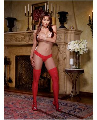 Stay up thigh high w/lace top red qn Sex Toy Product