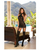 Sheer dress w/lace trim, attached garters and thigh high stock