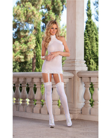 Sheer dress w/lace trim, attached garters and thigh high stockings (thong not included) white o/s