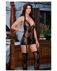 Floral stretch lace halter dress w/attached garters and thigh high stockings black o/s