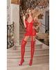 Floral stretch lace halter dress w/attached garters and thigh high stockings red o/s