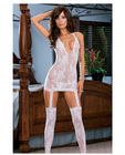 Floral Stretch Lace Halter Dress W/Attached Garters And Thigh High Stockings White O/S Sex Toy Product