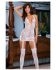Floral stretch lace halter dress w/attached garters and thigh high stockings white o/s