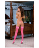 Sheer thigh high w/bow back seam and stay up silicone top (thong not included) black light pink o/s