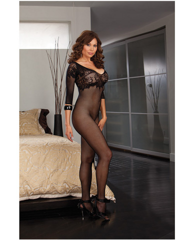 Fishnet bodystocking w/lace neckline, 3/4 length sleeve and open crotch black qn