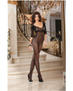 Fishnet bodystocking w/lace neckline, 3/4 length sleeve and open crotch black o/s