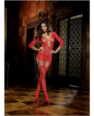 Fishnet garter dress w/lace hem and attached thigh highs (thong not included) red o/s