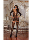 Fishnet garter dress w/lace hem and attached thigh highs (thong not included) black o/s