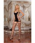 Opaque and fence net garter dress w/attached thigh high stockings