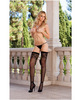 Fishnet thigh high stockings w/lace detail (thong not included) black o/s