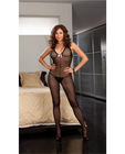 Dotted sheer halter bodystocking w/bow detail and open crotch black qn