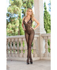 Dotted sheer halter bodystocking w/bow detail and open crotch black o/s