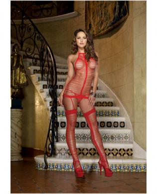 Seamless strappy knit halter garter dress w/stockings red o/s