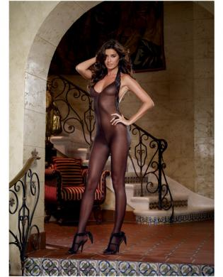 Sheer halter open crotch bodystocking w/lace trim and low back black o/s