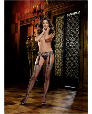 Stretch lace garter belt w/attached fishnet thigh highs leopard print black o/s