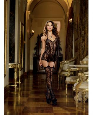 Lace Fishnet Halter Garter Dress Stockings Black O/S Sex Toy Product